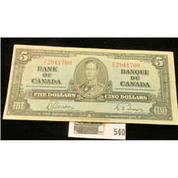 Jan., 1937 Bank of Canada Five Dollar Note, VF.