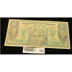 Jan. 2, 1935 Banque Canadienne National, $5 note.