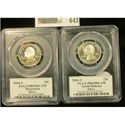 2004-S PROOF SILVER WISCONSIN STATE QUARTER GRADED PROOF 69 DEEP CAMEO & 2006-S PROOF SOUTH DAKOTA S