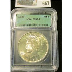 1923 PEACE DOLLAR GRADED MS 63 BY ICG