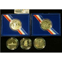 2 PROOF STATUTE OF LIBERTY HALF DOLLARS WITH BOXES, TWO BICENTENNIAL OF CONGRESS HALF DOLLARS,  & UN