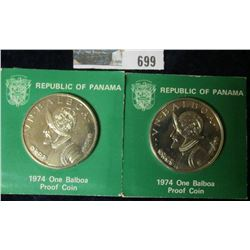 TWO REPUBLIC OF PANAMA ONE BALBOA PROOF COINS