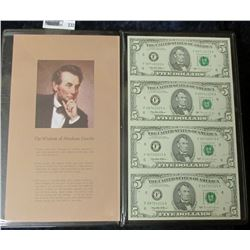 UNCUT SHEET OF FOUR SERIES 1995 FIVE DOLLAR NOTES