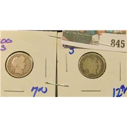 1900-S & 1907-S BARBER DIMES