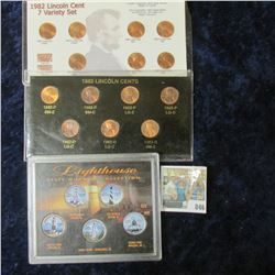 SEVEN VARIETIES OF 1982 MEMORIAL CENTS COIN SETS & COLORIZED LIGHTHOUSE STATE QUARTER SET