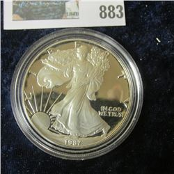 1987 S Proof One Ounce .999 fine Silver American Eagle Dollar. Encapsulated.
