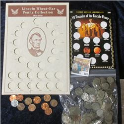 LINCOLN WHEAT CENT COIN COLLECTION, 10 DECADES OF THE LINCOLN PENNY COLLECTION. ALSO INCLUDED IS A B
