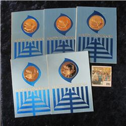 (5) HAPPY HANNUKAH MEDALS & CARD
