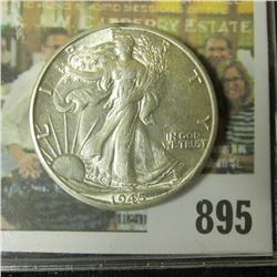 1945 D Walking Liberty Half Dollar, AU 58.