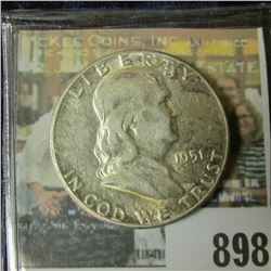 1951 P Toned AU Franklin Half Dollar.