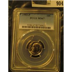 904 _ 1993 P Roosevelt Dime, PCGS slabbed MS67