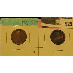 925 _ 1921 S & 22 D Lincoln Cents. Semi-key dates. Both VG.