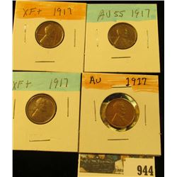 944 _ (4) 1917 P Lincoln Cents, all grading EF-AU+. Nice Chocolate browns.