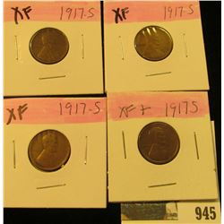 945 _ (4) 1917 S Lincoln Cents, all grading EF. Nice Chocolate browns.