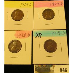 946 _ 1917D, 28D, 29D, & S Lincoln Cents, all Grading EF.