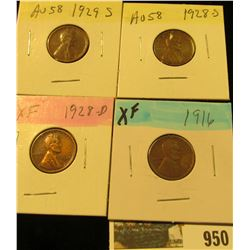 950 _ 1916P, 28D, 28S, & 29S Lincoln Cents, all Grading EF.