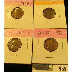 955 _ 1909 P, 27S, 28P & D Lincoln Cents, all Grading EF.