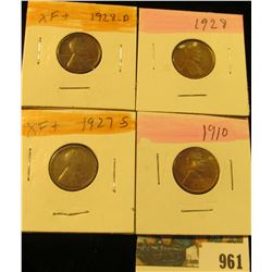 961 _ 1910P, 27S, 28P & D Lincoln Cents, all Grading EF-AU.