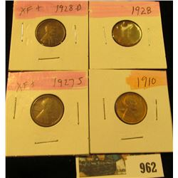 962 _ 1910P, 27S, 28P & D Lincoln Cents, all Grading EF.