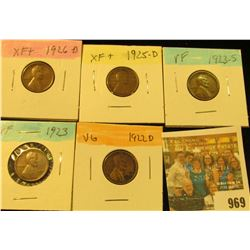 969 _ 1922D, 23P, S, 25D, & 26D  Lincoln Cents, VG to EF.