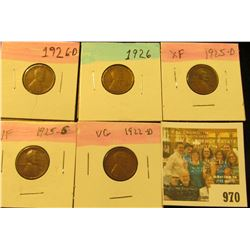 970 _ 1922D, 25D, S, 26P & D  Lincoln Cents, VG to EF.
