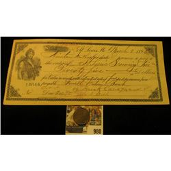 """980 _ """"Frank Cavagnard/916/M.Sarah/St./St. Louis, Mo."""" Token and Scrip from the St. Louis Brew Assoc"""