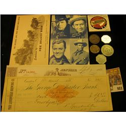 """981 _ """"Division 241/September/1933"""" Pin-back from the Street Car Union; 1900 Check with preprinted R"""