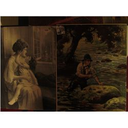 """984 _ 19"""" x 16"""" Print of Mother with Child, """"I Love You""""; Fisherman """"Going After The Big One""""; & a s"""