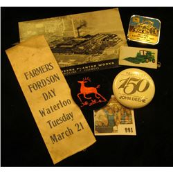 """991 _ Ribbon """"Farmers Fordson Day Waterloo Tuesday March 21"""" (Fordson Tractors); Pin-back """"1837-1987"""