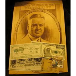 """999 _ Advertising Poster """"Vote to Continue Prosperity Herbert Hoover"""". 10"""" x 13""""; """"Muscatine, Iowa M"""