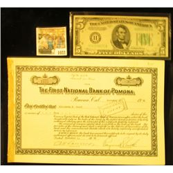 """1022 _ 1946 Stock Certificate for Five Shares """"The First National Bank of Pomona"""", Pomona, Californi"""