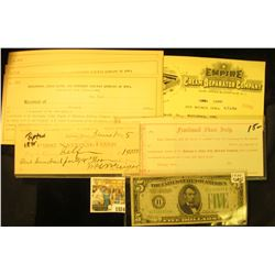 """1024 _ Unissued """"Fractional Share Scrip…Dubuque & Sioux City Railroad Company""""; 1895 Check """"First Na"""