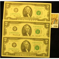 1026 _ (3) Consecutive Serial Number Two Dollar Series 1976 Federal Reserve Notes, all Crisp Uncircu