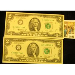 1027 _ (2) Consecutive Serial Number Two Dollar Series 1976 Federal Reserve Notes, all Crisp Uncircu