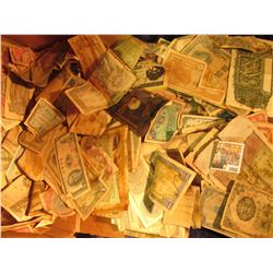 1033 _ Unsorted Box full of Old Foreign Currency, advertising notes, some facsimile notes, & possibl