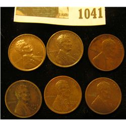 1041 _ (2) 1917 P Brown Unc, (2) 17 D VF, & (2) 18 D VF Lincoln Cents.