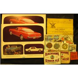 1047 _ Pair of 1965 Ford Mustang Advertising Posters; & several pieces of Beer and Soda Memorabilia,