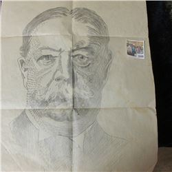"""1049 _ Original 14"""" x 24"""" Pencil Sketching of """"Roy C. Lawrence"""" dated 1923. One of the original Lawr"""