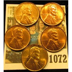 1072 _ 1935P, 37P, 40P, 46D, & 50P Lincoln Cents. All Red Gem BU.