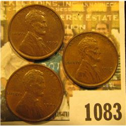 1083 _ (3) 1909 P Lincoln Cents. All Almost Uncirculated.