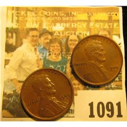 1091 _ Pair of 1909 P Lincoln Cents, Chocolate brown AU.