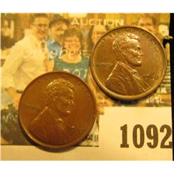 1092 _ Pair of 1910 P Lincoln Cents, Chocolate brown AU.