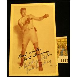 "1112 _ Personally autographed Post card ""Best Wishes Jack Dempsey Best Regards Jack Shockey"", on an"