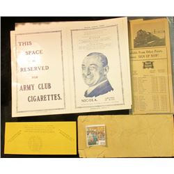 "1113 _ ""Nicola, Emperor of Magic Tour-India 1930"" Program with a Space Reserved for Army Club Cigare"