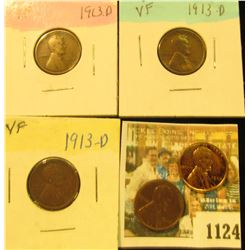 1124 _ Trio of 1913 D VF & a pair of 1935 P Brown Almost Uncirculated Lincoln Cent.