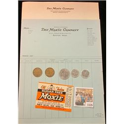 "1135 _ Three pieces of ""The Moxie Company, Boston, Mass."" memorabilia; & (5) Old Good For Tokens."