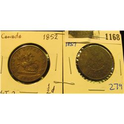 1168 _ 1852 & 1857 Bank of Upper Canada Half Penny Tokens, both depict St. George slaying the Dragon