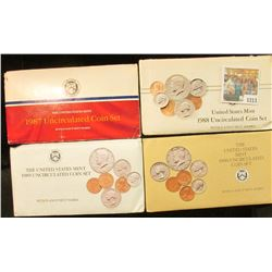 1213 _ 1987, 88, 89, & 90 U.S. Mint sets. All original as issued. (total face value $7.28) Red Book