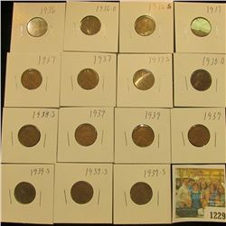 1229 _ 1936P, D, S, (3) 37P, S, 38D, S, (3) 39P, & (3) 39S Wheat Cents, most are VG to F. All carded