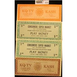 """1231 _ Ca. 1950 (2) different $1 & (2) different $5 """"Merchandise Certificate Not Transferable KQ-TV"""